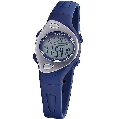 c7d279d3cb41 Reloj TIME FORCE TF-3184B03 para cadete o señora.- Caja de resina azul.-  Correa de caucho azul.- Esfera ovalada gris.- Alarma.- Cronómetro.