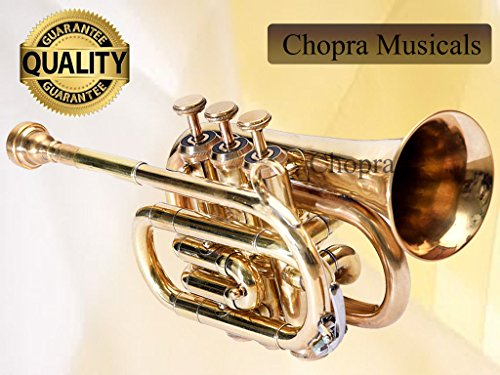 Trumpet Pocket 3V Pro Shinning Brass with Mouth Piece n Case by Chopra