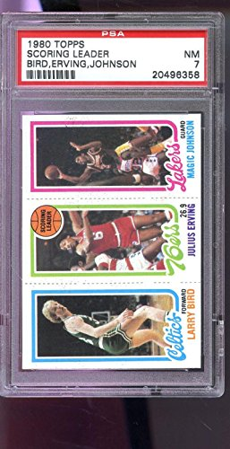 1980 Rookie Card (1980-81 Topps Larry Bird Magic Johnson Julius Erving ROOKIE RC PSA 7 Graded Card)