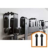 HomeDeco Hardware Rustic Style 10 FT Bypass Door Hardware Sliding Barn Door Hardware Steel Track For Double Wood Doors Kit