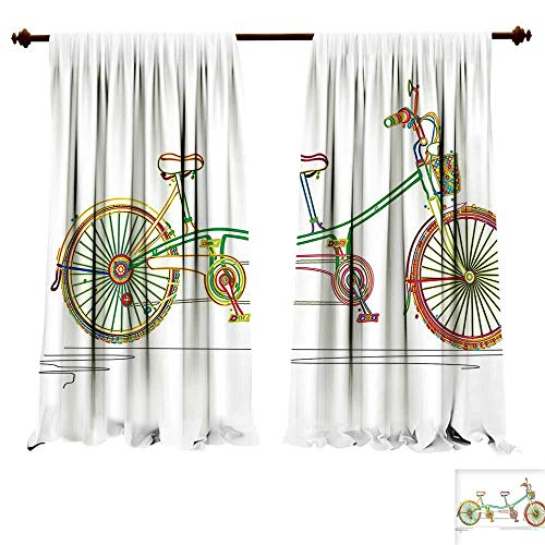 Room Darkening Thermal Insulated ative Colorful Tandem Bicycle Design on White Background Pattern Clipart Style Print Multicolor Blackout Curtain for Living Room (W72 x L84 -Inch 2 Panels) ()
