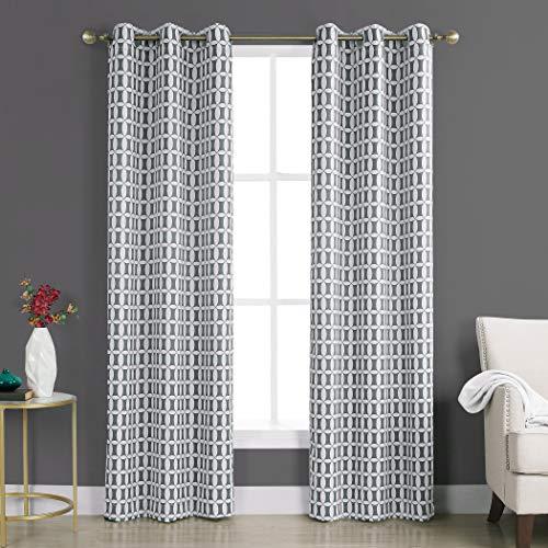 Sun Zero Murphy Geometric Blackout Rod Pocket Curtain Panel, 40