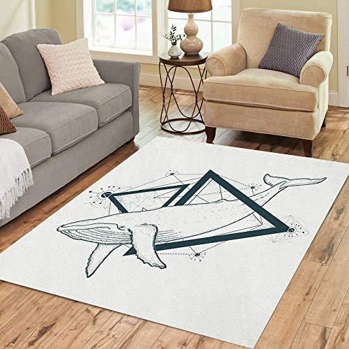 - Pinbeam Area Rug Whale Tattoo Geometric Mystical Symbol of Adventure Dreams Home Decor Floor Rug 2' x 3' Carpet