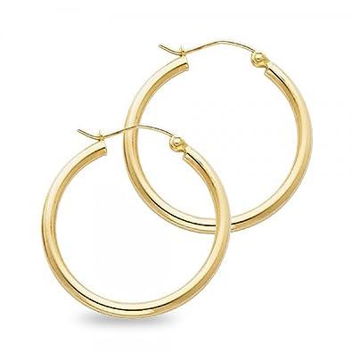 6bfad2d40 Amazon.com: 14k Yellow Gold Round Plain Hoop Earrings Classic French Lock  Polished Design Women 25 x 2 mm: Jewelry