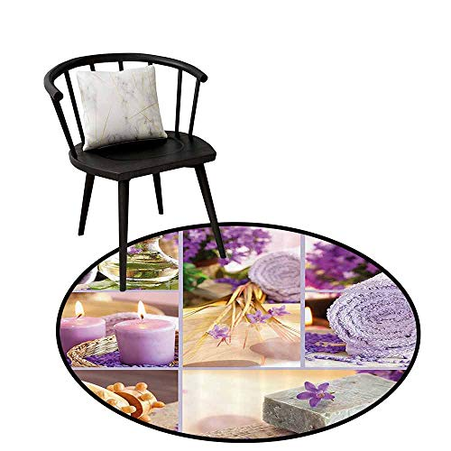 Durable Round Rug Spa Decor Protective Floor Lavender Themed Relaxing Joyful Spa Day with Aromatherapy Oils and Candles Purple and White D16(40cm)