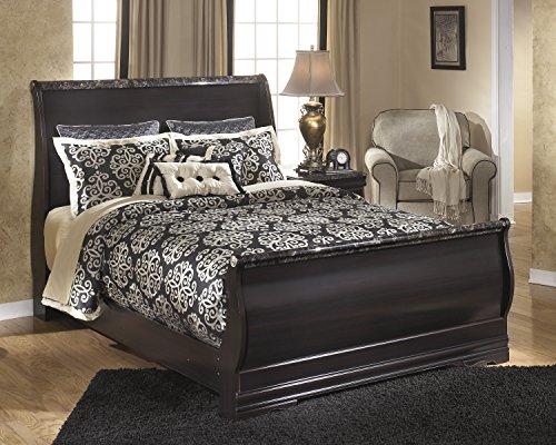 Merlot Queen Sleigh Bed - Ashley Furniture Design - B179 Esmarelda Traditional Queen Sleigh Bed - Dark Merlot