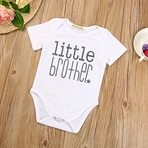 Sunbona Infant Baby Boys Brother Matching Letter Print Short Sleeve +Print Romper Jumpsuit Clothes Outfit (Little Brother6M(Age:0~6Months))