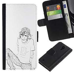 iKiki Tech / Cartera Funda Carcasa - Boy Guy Man Pencil Chilling Drawing Art Brow - Samsung Galaxy S4 IV I9500