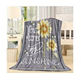 SIGOUYI Lightweight Fleece Blankets Reversible Throw Cozy Plush Microfiber All-Season Blanket for Bed/Couch - Twin 50x60 Inch, You are My Sunshine Yellow Sunflower