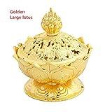 Sala Houseware - Bronze Classical Style Alloy Tibetan Incense Burner Censer Unbreakable Lotus Metal Crafts Sandalwood Censer Home Decor MA972767