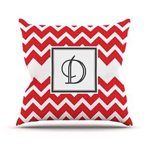 "Kess InHouse KESS Original ""Monogram Chevron Red Letter D"" Outdoor Throw Pillow, 20 by 20-Inch"