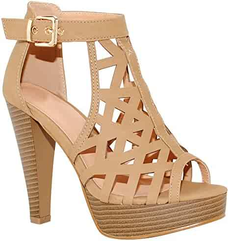 c1446da3ff9 TRENDSup Collection Open Toe Ankle Strap Sandal – Western Bootie Stacked  Heel Open Toe Cutout Shoes