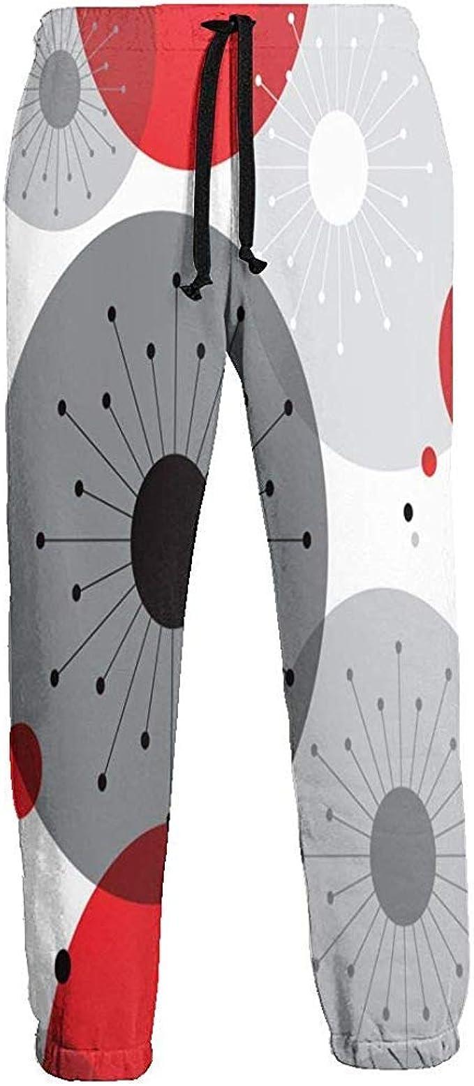 Retro Vintage Rojo Gris Blanco Bola Pantalones de chándal para ...