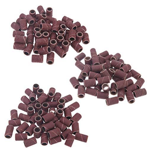 Lurrose 300 unids bandas de lijado taladro de uñas anillo de lijado pulido cabeza pulidor suministros esenciales arena...