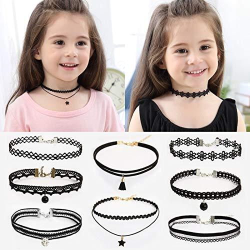 (maket 8pcs/Set Kids Chokers Children's Fashion Necklace Classic Chokers for Girl(Multi-Color,8pcs/Set))