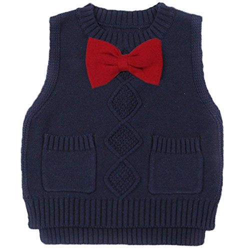 Old Navy Cable Knit Sweater - Toddler Baby Boy's Girls Cable Knit Vest Cotton Bow Pullover Sweater (18-24 Months, Navy)