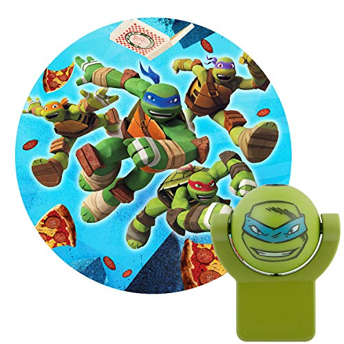 Projectables 10302 Teenage Mutant Ninja Turtles LED Plug-In Night Light, Green, Light Sensing, Auto On/Off, Projects Nickelodeon TMNT Leonardo Image on Ceiling, Wall, or Floor]()