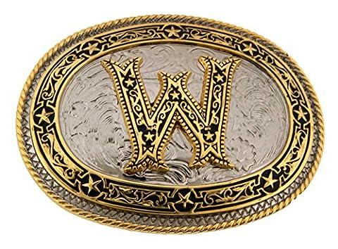 Initial Letter W Western New Cowboy Rodeo Vintage Costume Halloween Belt Buckle (Hebillas De Rodeo)