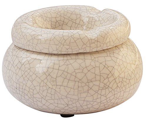 abhandicrafts Deal of The Day 4'' Moroccan Round White Crackle Ashtray Hand-Painted Ceramic Ash Tray with 3 Cigarette Holder Slots for Indoor or Outdoor Use, Desktop Smoking Ash Tray for Home by abhandicrafts