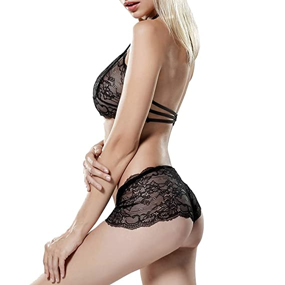 Amazon.com : Elaco Polyester Material Womens Black Lace Boxer Shorts Erogenous Two-Piece Set Make You Super Erogenous and Seductive : Sports & Outdoors