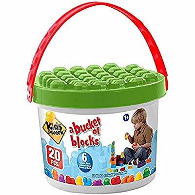 Kids@Work Bucket of Blocks, 20 Building Blocks with Storage Bucket: Toys & Games