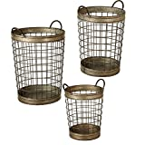 Set of 3 Distressed Silver Galvanized Nested Open Weave Basket with Handles 21''