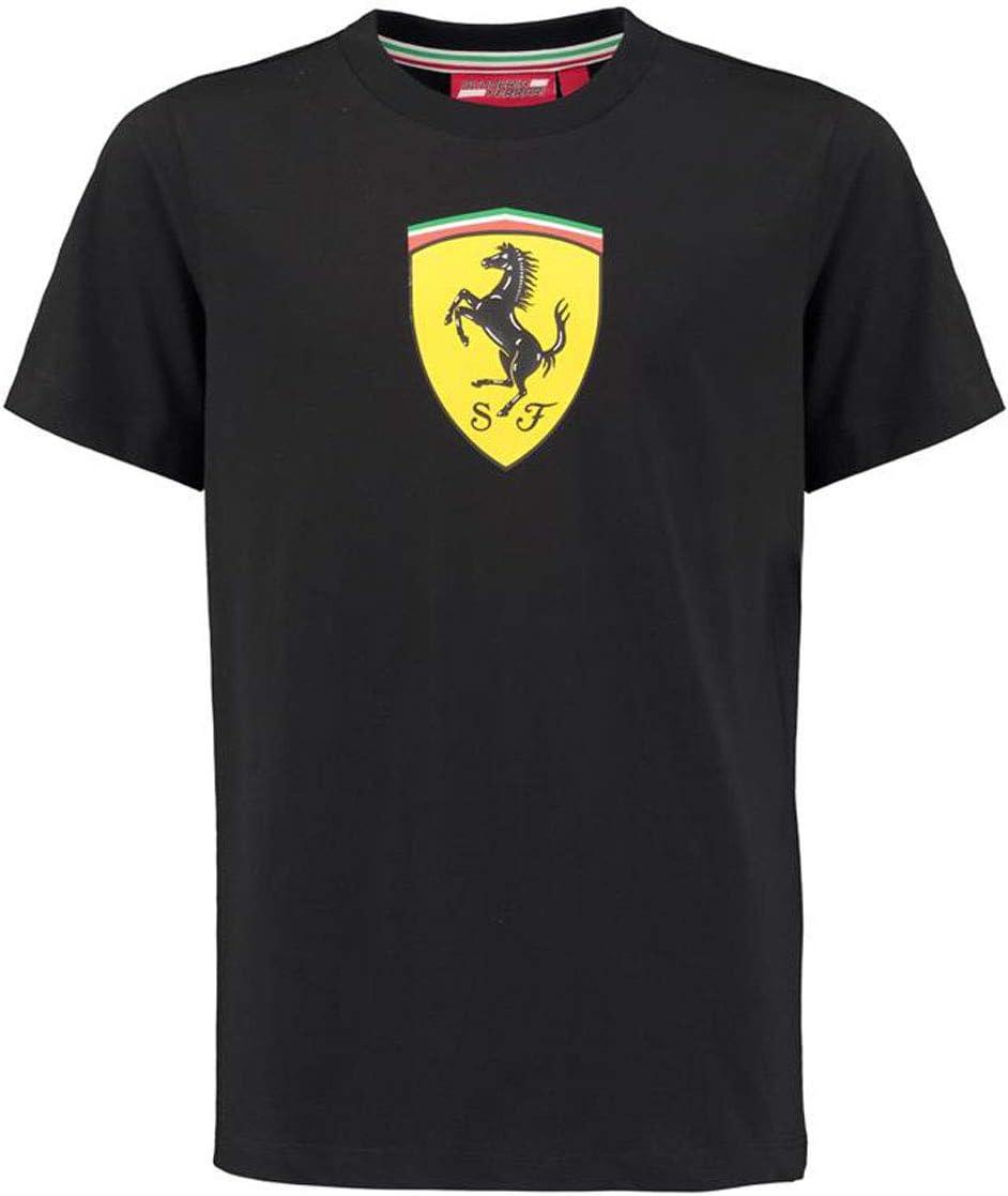 Amazon Com Ferrari Kids Black Shield Tee Shirt Clothing
