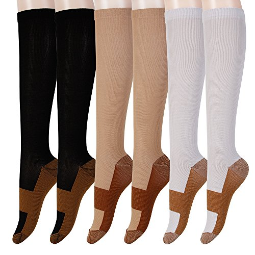 Graduated Copper Compression Socks 6 Pairs Anti Fatigue Knee High Socks For Men Women Pain Ache Relief Stockings-15-20 mmHg (XXL, Black&White&Nude)