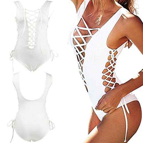 BYD Mujeres Trajes de una pieza Sexi Vendaje de Bañador Push Up Bikinis Ropa de baño Blanco