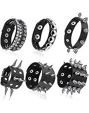 6 Pieces Black Leather Punk Studded Rivets Bracelet Cuff