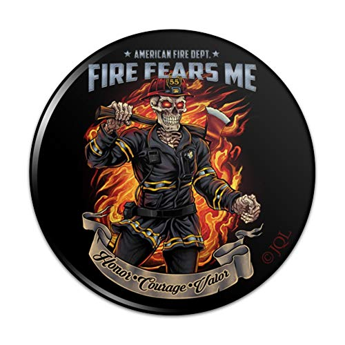 American Fire Department Firefighter Skeleton Fears Me Pinback Button Pin Badge - 3