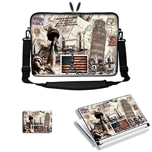 Price comparison product image Meffort Inc 15 15.6 inch Laptop Carrying Sleeve Bag with Adjustable Shoulder Strap & Matching Skin Sticker,  Mouse Pad Combo - World Landmarks