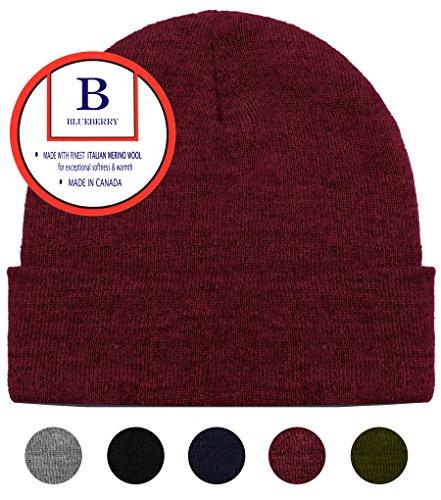 Blueberry Uniforms Burgundy Merino Wool Beanie Hat -Soft Winter and Activewear Watch Cap