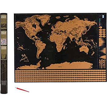 Amazon scratch off world map deluxe personalized travel map scratch off world map track the places you travel world map poster us states country flags and gift packaging free scratch off pen 32 x 24 inches gumiabroncs Image collections