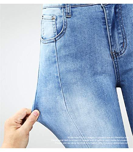 Alta A Denim Lavorazione Donna Patchwork In Con Perla Borchie Z Jeans Blue Vita baibao Da XqOA00