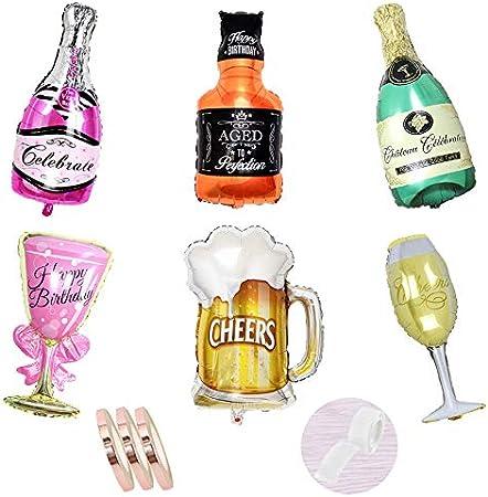 Juego de decoración de botellas de champán con globos de papel de aluminio, botella de vino de 6 piezas con globos de helio de vidrio,inflado gigante para de fiesta de bodas de cumpleaños (xxxl 100cm)