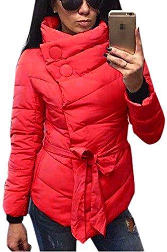 Larga Cinturón Con Capa Caliente Mujer La Botones Invierno Rojo Externa Manga Parkas RAn4q