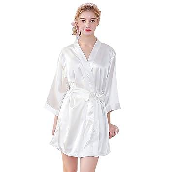 Las mujeres de Satén batas de seda batas de encaje pijamas ...