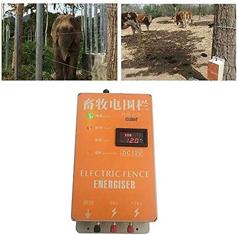 Changli Cerco eléctrico Solar Energizador Cargador Controlador de Pulso de Alto Voltaje Granja de Animales Cerco eléctrico Pastor Cría Animales Controlador de cercado eléctric para jardín