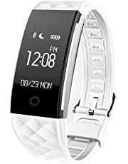 Redlemon Smartwatch tipo Pulsera Fitband con Podómetro Contador de Calorías Notificaciones de Mensajería y Llamadas Monitor Ritmo Cardiaco A Prueba de Agua y Polvo Compatible con Android y iOS. Blanco