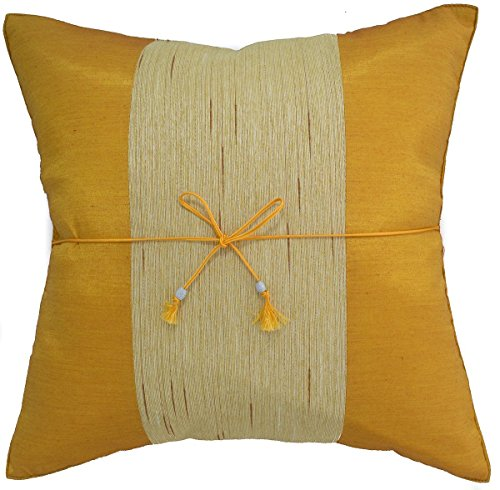 Narphosit 16x16 Inchs Crepe Striped Throw Pillow Cover Decorative Sofa Couch Cushion Cover (Yellow) (French Setee)
