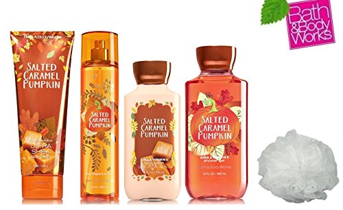 Bath & Body Works SALTED CARAMEL PUMPKIN Deluxe Gift Set Lotion ~ Cream ~ Fragrance Mist ~ Shower Gel + & FREE Shower Sponge Lot of 5 (Cupcake Italian Charm)
