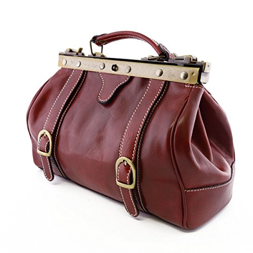 Borsa Medico In Vera Pelle, 2 Fibbie Frontali Colore Rosso - Pelletteria Toscana Made In Italy - Business