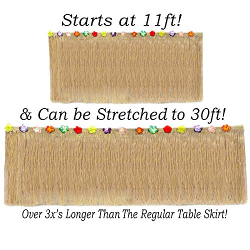 Grass Skirt Material (Hawaiian Table Skirt 11ft Long Stretches to 30ft! | (29