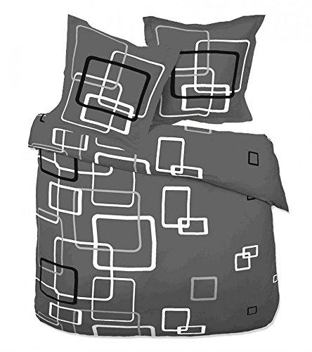2 teilige Microfaser Fleece Winter Bettwäsche 135x200 + 80x80 grau Boxes