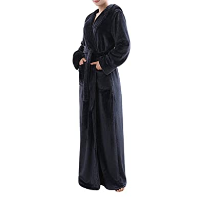 Ladies Fleece Super Soft Bathrobe Dressing Gown Full Length Warm Luxury Hooded  Robe Housecoat Unisex Hotel 96f90a67f