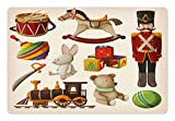 Lunarable Kids Pet Mat for Food and Water, Vintage Wooden Toys Design Rocking Horse Blocks Doll Drum Train Retro Illustration, Rectangle Non-Slip Rubber Mat for Dogs and Cats, Multicolor