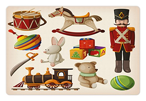 Lunarable Kids Pet Mat for Food and Water, Vintage Wooden Toys Design Rocking Horse Blocks Doll Drum Train Retro Illustration, Rectangle Non-Slip Rubber Mat for Dogs and Cats, Multicolor by Lunarable