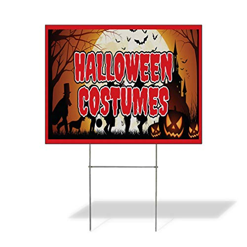 Plastic Weatherproof Yard Sign Halloween Costumes Business White for Sale Sign One Side 18inx12in ()