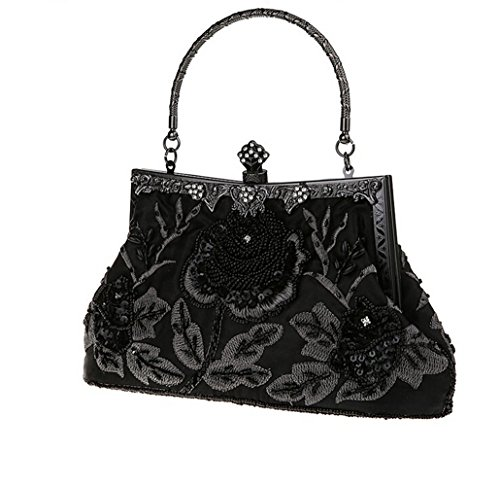 Rose Evening Clutch Vintage Women's Black Bopstyle Party Purse Sequin Beaded Pure Handbag YZW8Wnpf